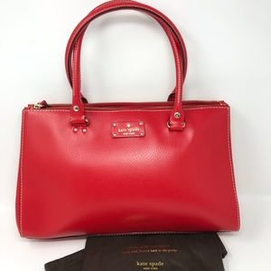 New Kate Spade Sydney Large Double-Zip Satchel Red